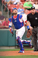 Buffalo Bisons catcher Mike Nickeas (15) umpire Jonathan Bailey looking for a foul pop up during a game against the Gwinnett Braves on May 13, 2014 at Coca-Cola Field in Buffalo, New  York.  Gwinnett defeated Buffalo 3-2.  (Mike Janes/Four Seam Images)