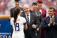 LYON, FRANCE - JULY 07: Alex Morgan and FIFA President Gianni Infantino during a game between Netherlands and USWNT at Stade de Lyon on July 07, 2019 in Lyon, France.