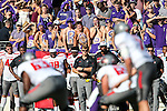 TCU Horned Frogs fans watch the action during the game between the Texas Tech Red Raiders and the TCU Horned Frogs at the Amon G. Carter Stadium in Fort Worth, Texas. TCU defeats Texas Tech 82 to 27.