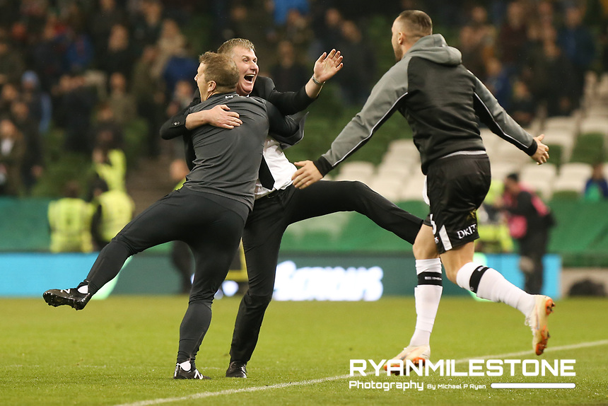Stephen Kenny and Vinny Perth celebrates at the final whistle of the Irish Daily Mail FAI Cup Final between Dundalk and Cork City, on Sunday 4th November 2018, at the Aviva Stadium, Dublin. Mandatory Credit: Michael P Ryan.