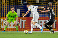 CARSON, CA - SEPTEMBER 15: Zlatan Ibrahimovic #9 of the Los Angeles Galaxy moves with the ball during a game between Sporting Kansas City and Los Angeles Galaxy at Dignity Health Sports Park on September 15, 2019 in Carson, California.