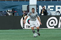 FOXBOROUGH, MA - SEPTEMBER 23: Samuel Piette #6 of Montreal Impact dribbles at midfield during a game between Montreal Impact and New England Revolution at Gillette Stadium on September 23, 2020 in Foxborough, Massachusetts.