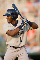 DeAngelo Mack #11 of the Charleston RiverDogs at bat against the Kannapolis Intimidators at Fieldcrest Cannon Stadium May 29, 2010, in Kannapolis, North Carolina.  Photo by Brian Westerholt / Four Seam Images