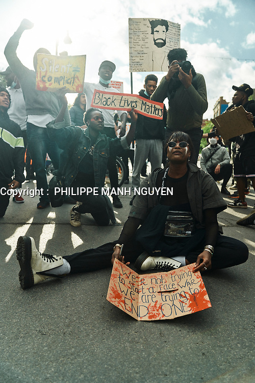 Manifestation Black Lives Matters, le 31 mai 2020.<br /> <br /> PHOTO : Philippe Manh Nguyen - AGENCE QUEBEC PRESSE