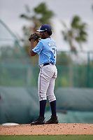Tampa Bay Rays relief pitcher Willy Ortiz (71) gets ready to deliver a pitch during an Instructional League game against the Pittsburgh Pirates on October 3, 2017 at Pirate City in Bradenton, Florida.  (Mike Janes/Four Seam Images)