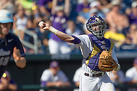 Louisiana State catcher Ty Ross (26) makes a throw to first base against the North Carolina Tar Heels during Game 7 of the 2013 Men's College World Series on June 18, 2013 at TD Ameritrade Park in Omaha, Nebraska. The Tar Heels defeated the Tigers 4-2, eliminating LSU from the tournament. (Andrew Woolley/Four Seam Images)