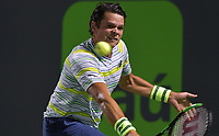KEY BISCAYNE, FL - MARCH 28: Juan Martin Del Potro of Argentina defeats Milos Raonic of Canada 5-7 7-6 7-6 during the quarterfinals match on Day 10 of the Miami Open Presented by Itau at Crandon Park Tennis Center on March 28, 2018 in Key Biscayne, Florida<br /> <br /> <br /> People:  Milos Raonic