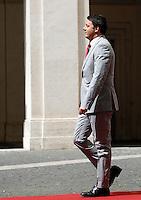 Il Presidente del Consiglio Matteo Renzi si prepara ad accogliere il Segretario Generale delle Nazioni Unite a Palazzo Chigi, Roma, 7 maggio 2014.<br /> Italian Premier Matteo Renzi prepares to welcome UN Secretary-General at Chigi Palace, Rome, 7 May 2014.<br /> UPDATE IMAGES PRESS/Riccardo De Luca