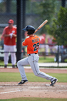 Miami Marlins Brian Miller (25) during a Minor League Spring Training game against the Washington Nationals on March 28, 2018 at FITTEAM Ballpark of the Palm Beaches in West Palm Beach, Florida.  (Mike Janes/Four Seam Images)