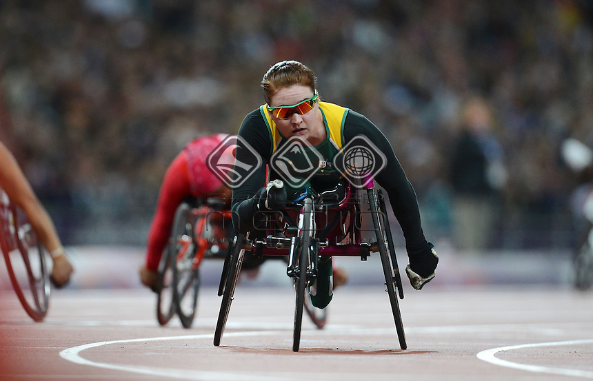 Angela Ballard AUS wins silver in the Women's 200m - T53<br /> Athletics (Thursday 6th Sept) - Olympic Stadium<br /> Paralympics - Summer / London 2012 <br /> London, England 29 Aug - 9 Sept<br /> © Sport the library/Courtney Crow