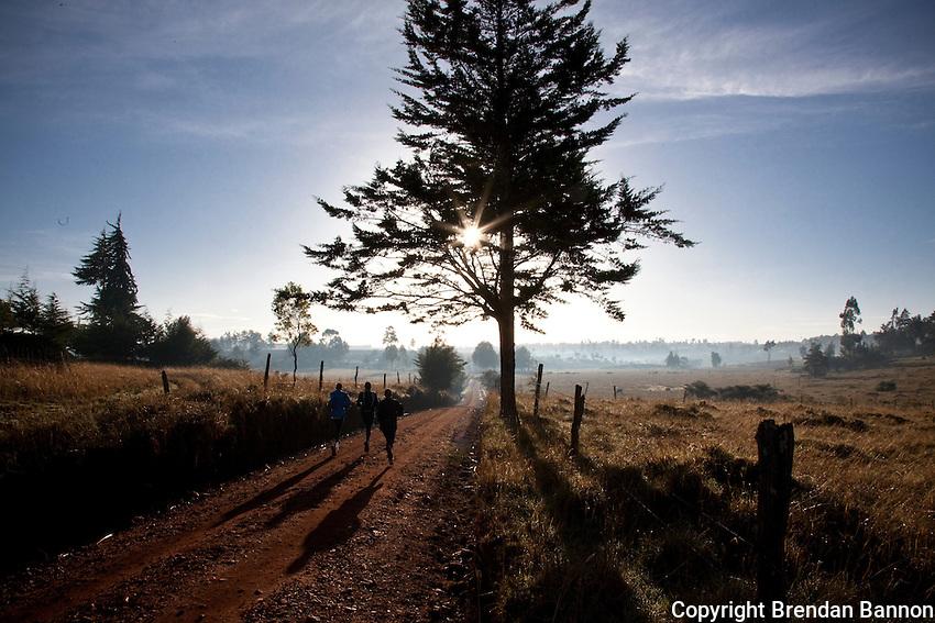 Kenyan runners on a dirt road in Iten, kenya