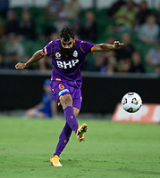 24th March 2021; HBF Park, Perth, Western Australia, Australia; A League Football, Perth Glory versus Sydney FC; Osama Malik of the Perth Glory has a shot from outside the box during the first half