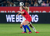 CARSON, CA - FEBRUARY 7: Sam Mewis #3 of the United States heads the ball during a game between Mexico and USWNT at Dignity Health Sports Park on February 7, 2020 in Carson, California.