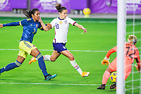 ORLANDO, FL - JANUARY 18: Carli Lloyd #10 of the USWNT battles for the ball during a game between Colombia and USWNT at Exploria Stadium on January 18, 2021 in Orlando, Florida.