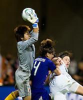 Ayumi Kaihori, Saki Kumagai, Abby Wambach.  Japan won the FIFA Women's World Cup on penalty kicks after tying the United States, 2-2, in extra time at FIFA Women's World Cup Stadium in Frankfurt Germany.