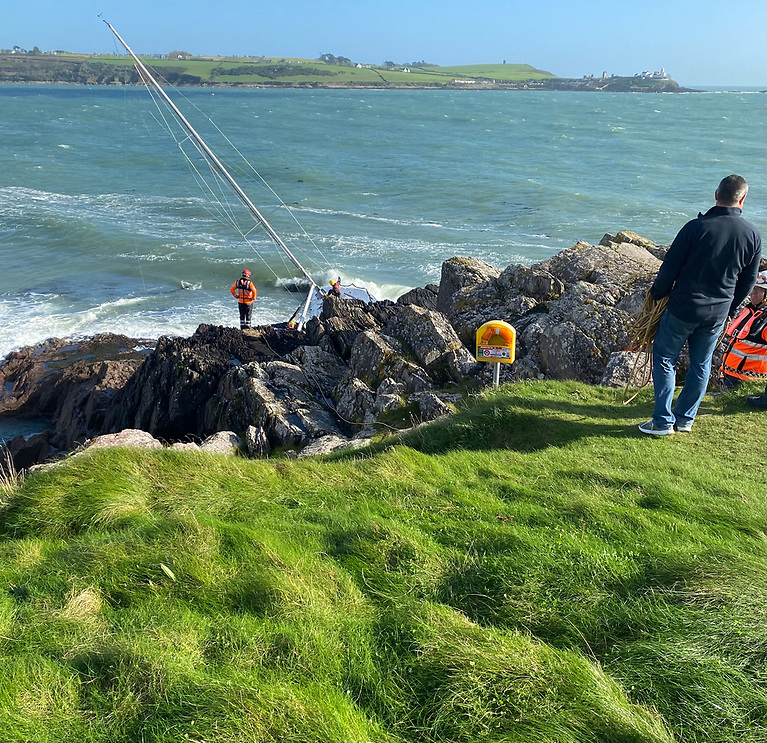 Coastguard attend the scene at Weaver's Point where a yacht went aground