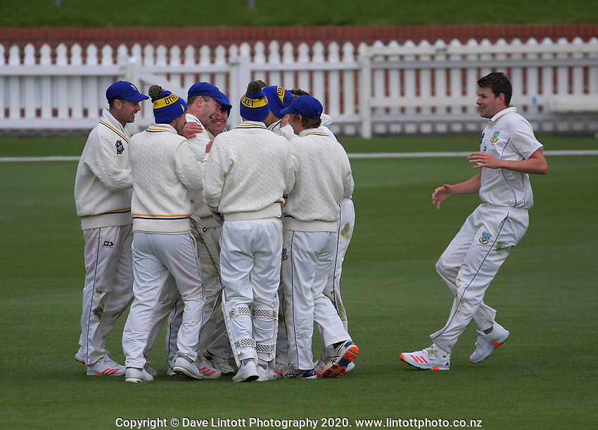 Otago's Anaru Kitchen celebrates catching Andrew Fletcher during day four of the Plunket Shield match between the Wellington Firebirds and Otago Volts at Basin Reserve in Wellington, New Zealand on Sunday, 8 November 2020. Photo: Dave Lintott / lintottphoto.co.nz