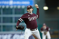 Mississippi State Bulldogs starting pitcher Konnor Pilkington (48) in action against the Louisiana Ragin' Cajuns in game three of the 2018 Shriners Hospitals for Children College Classic at Minute Maid Park on March 2, 2018 in Houston, Texas.  The Bulldogs defeated the Ragin' Cajuns 3-1.   (Brian Westerholt/Four Seam Images)