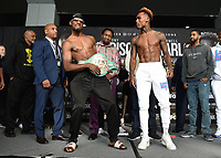 """ONTARIO - DECEMBER 20:  Tony Harrison and Jermell Charlo at  the weigh in for the December 21 fight on the Fox Sports PBC """"Harrison v Charlo"""" on December 20, 2019 in Ontario, California. (Photo by Frank Micelotta/Fox Sports/PictureGroup)"""