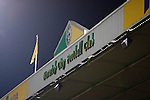 Norwich City 1 Manchester United 0, 17/11/2012. Carrow Road, Premier League. The club crest on the stadium roof at Carrow Road stadium, home of Norwich City as the team took on Manchester United in a Barclays Premier League fixture. The home team won the match by one goal to nil watched by a crowd of 26,840. It was Norwich City's first victory against Manchester United since 2005. Photo by Colin McPherson.