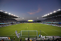 SAN JOSE, CA - JULY 24: Sunset over PayPal Park during a game between Houston Dynamo and San Jose Earthquakes at PayPal Park on July 24, 2021 in San Jose, California.