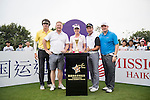 (L-R) Chris Yu, David May, Paula Creamer, Tenniel Chu, Markus Manninen at the 1st hole during the World Celebrity Pro-Am 2016 Mission Hills China Golf Tournament on 23 October 2016, in Haikou, China. Photo by Weixiang Lim / Power Sport Images