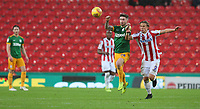 Preston North End's Sean Maguire battles with Stoke City's Moritz Bauer<br /> <br /> Photographer Stephen White/CameraSport<br /> <br /> The EFL Sky Bet Championship - Stoke City v Preston North End - Saturday 26th January 2019 - bet365 Stadium - Stoke-on-Trent<br /> <br /> World Copyright © 2019 CameraSport. All rights reserved. 43 Linden Ave. Countesthorpe. Leicester. England. LE8 5PG - Tel: +44 (0) 116 277 4147 - admin@camerasport.com - www.camerasport.com