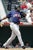 David Ortiz of the Minnesota Twins bats during a 2002 MLB season game against the Los Angeles Angels at Angel Stadium, in Anaheim, California. (Larry Goren/Four Seam Images)