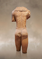 Archaic ancient Greek marble torso of a kouros statue, from Temple of Poseidon, Sounion, circa 600 BC, Athens National Archaeological Museum. Cat no 3645