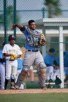 Tampa Bay Rays catcher Ronaldo Hernandez (90) throws back to the pitcher during an Instructional League game against the Pittsburgh Pirates on October 3, 2017 at Pirate City in Bradenton, Florida.  (Mike Janes/Four Seam Images)