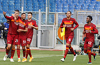 Roma's Gianluca Mancini, left, celebrates with his teammates, from second from left, Bruno Peres, Stephan El Shaarawy, Chris Smalling and Amadou Diawara, after scoring during the Italian Serie A Football match between Roma and Genoa at Rome's Olympic stadium, March 7, 2021.<br /> UPDATE IMAGES PRESS/Riccardo De Luca