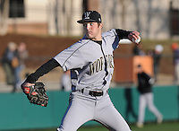 Starting pitcher Dominick Del Monte (14) of the Wofford Terriers in a game against the Clemson Tigers on Wednesday, March 6, 2013, at Doug Kingsmore Stadium in Clemson, South Carolina. Clemson won, 9-2. (Tom Priddy/Four Seam Images)