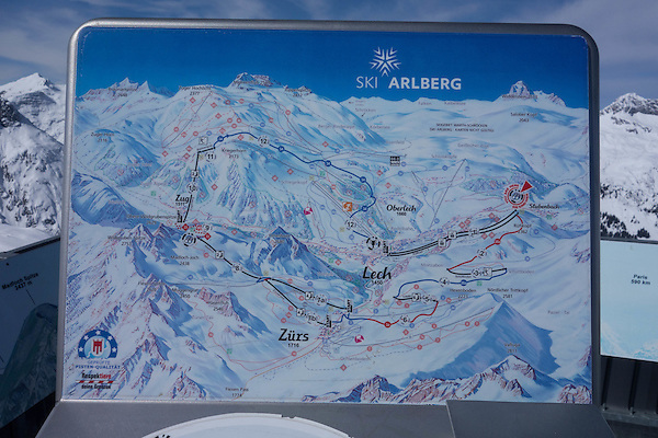 Trail map for Lech and Zurs Ski Areas, St Anton, Austria