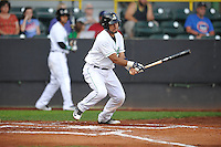 Clinton LumberKings Arturo Nieto (23) swings during the Midwest League game against the Beloit Snappers at Ashford University Field on June 11, 2016 in Clinton, Iowa.  The LumberKings won 7-6.  (Dennis Hubbard/Four Seam Images)