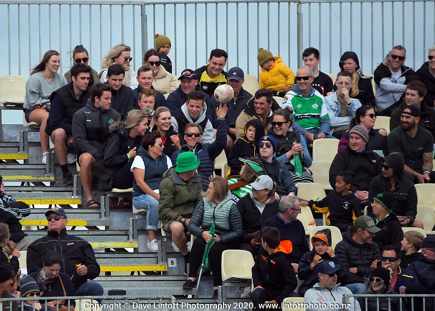 Fans return the ball during the Mitre 10 Cup Cup rugby match between Manawatu Turbos and Southland Stags at Manfeild Park in Feilding, New Zealand on Saturday, 1 November 2020. Photo: Dave Lintott / lintottphoto.co.nz