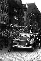 Reichsparteitag. Der Vorbeimarsch der SA am Fuhrer. Parade of SA troops past Hitler. Nuremberg, November 9, 1935.