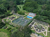 BNPS.co.uk (01202 558833)<br /> Pic: Strutt&Parker/Savills/BNPS<br /> <br /> RESUBMISSION: Please credit Strutt & Parker/Savills/BNPS.<br /> <br /> Pictured: An aerial view of the gardens.<br /> <br /> An impressive country estate that has hosted royalty and wartime evacuees has gone on the market for £8.65m.<br /> <br /> The Wilverley Estate was once home to the Honourable George Rose, who was paymaster general and known to have entertained King George III there.<br /> <br /> The 234-acre estate is on the edge of the New Forest, near Lyndhurst, Hants, and is up for sale for the first time in 74 years.