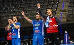 Freude nach Sieg: Zarko Pesevski (TVB Stuttgart #44) ;  Johannes Bitter (TVB Stuttgart #1) ; BGV Handball Cup 2020 Finaltag: TVB Stuttgart vs. FRISCH AUF Goeppingen am 13.09.2020 in Stuttgart (PORSCHE Arena), Baden-Wuerttemberg, Deutschland<br /> <br /> Foto © PIX-Sportfotos *** Foto ist honorarpflichtig! *** Auf Anfrage in hoeherer Qualitaet/Aufloesung. Belegexemplar erbeten. Veroeffentlichung ausschliesslich fuer journalistisch-publizistische Zwecke. For editorial use only.