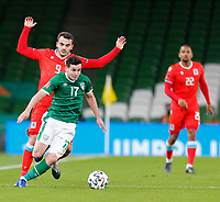 27th March 2021; Aviva Stadium, Dublin, Leinster, Ireland; 2022 World Cup Qualifier, Ireland versus Luxembourg; Josh Cullen (Republic of Ireland) gets away from Danel Sinani (Luxembourg)