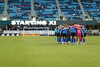 SAN JOSE, CA - MAY 12: San Jose Earthquakes huddle before a game between Seattle Sounders FC and San Jose Earthquakes at PayPal Park on May 12, 2021 in San Jose, California.