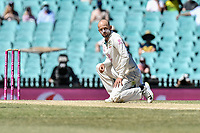 11th January 2021; Sydney Cricket Ground, Sydney, New South Wales, Australia; International Test Cricket, Third Test Day Five, Australia versus India; Nathan Lyon of Australia reacts after bowling