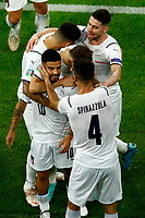 Lorenzo Insigne of Italy celebrates with team mates after scoring the goal of 0-2 during the Uefa Euro 2020 round of 8 football match between Belgium and Italy at football arena in Munich (Germany), July 2nd, 2021. Photo Matteo Ciambelli / Insidefoto