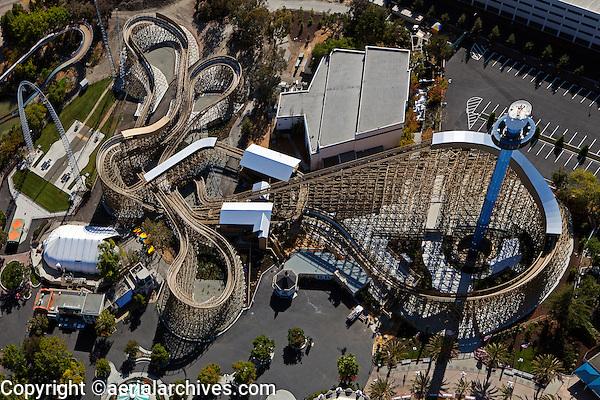 aerial photograph Gold Striker wooden rollercoaster, Star Tower and  Xtreme Skyflyer, California's Great America amusement park, Santa Clara, California