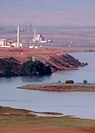 Hanford Nuclear Reservation, Deactivated 100-N and 100-D cold war atomic reactors, adjacent to the Columbia River, view from Hanford Reach National Monument,  Wahluke Slope,