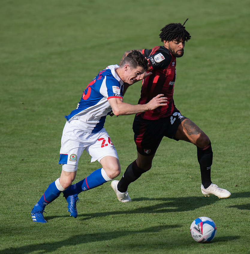 Blackburn Rovers' Darragh Lenihan (left) battles with Bournemouth's Philip Billing (right) <br /> <br /> Photographer David Horton/CameraSport <br /> <br /> The EFL Sky Bet Championship - Bournemouth v Blackburn Rovers - Saturday September 12th 2020 - Vitality Stadium - Bournemouth<br /> <br /> World Copyright © 2020 CameraSport. All rights reserved. 43 Linden Ave. Countesthorpe. Leicester. England. LE8 5PG - Tel: +44 (0) 116 277 4147 - admin@camerasport.com - www.camerasport.com