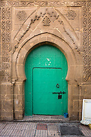 Essaouira, Morocco.  Doorway and Stone Carving.