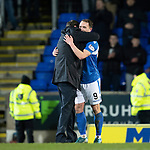St Johnstone v Motherwell…..12.02.20   McDiarmid Park   SPFL<br />Tommy Wright hugs Chris Kane at full time<br />Picture by Graeme Hart.<br />Copyright Perthshire Picture Agency<br />Tel: 01738 623350  Mobile: 07990 594431