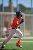 GCL Astros Jose Alvarez (6) runs to first base during a Gulf Coast League game against the GCL Marlins on August 8, 2019 at the Roger Dean Chevrolet Stadium Complex in Jupiter, Florida.  GCL Astros defeated GCL Marlins 4-2.  (Mike Janes/Four Seam Images)