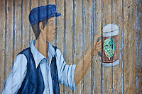 Europe/France/Nord-Pas-de-Calais/59/Nord/Bailleul:Enseigne de la Ferme Brasserie Beck à l'éloge de la bière locale: Hommelpap