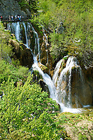 Cascades of water running over the travetine deposits between the lakes of Plitvice. Plitvice ( Plitvika ) Lakes National Park, Croatia. A UNESCO World Heritage Site